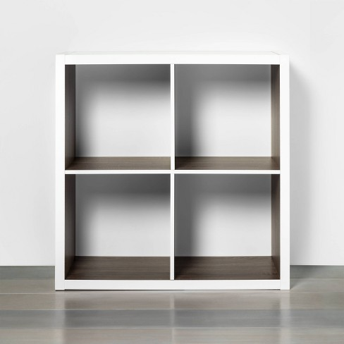 4 Cube Storage Organizer White with Wood Accents - Threshold™ - image 1 of 4