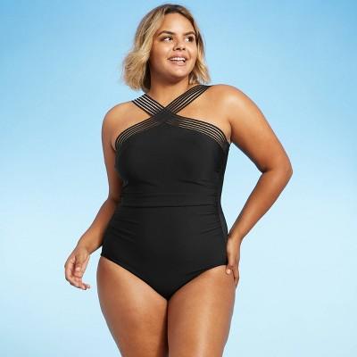 Women's Cross Front One Piece Swimsuit - Aqua Green® Black