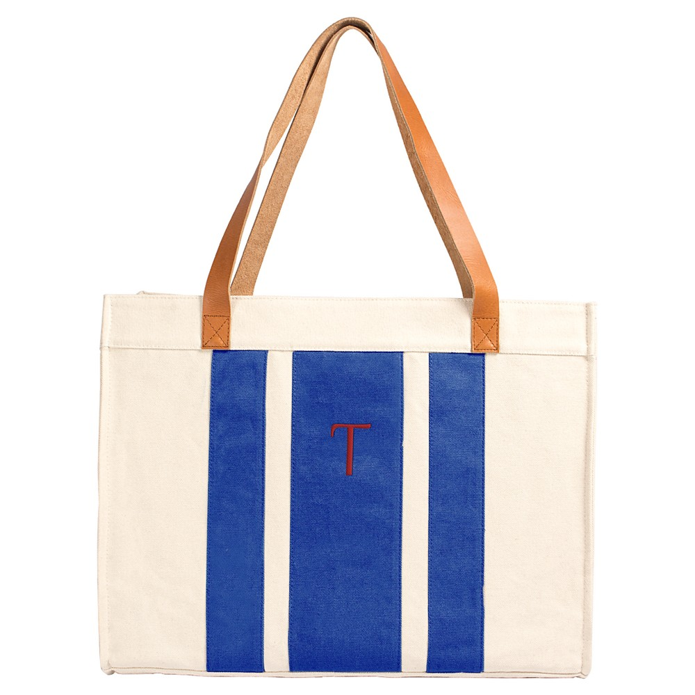 Cathy's Concepts Women's Monogram Tote Handbag - Blue Stripe T, Blue - T