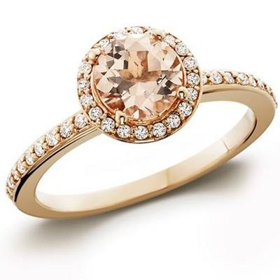 Pompeii3 7/8ct Morganite & Diamond Halo Engagement Ring 14K Rose Gold