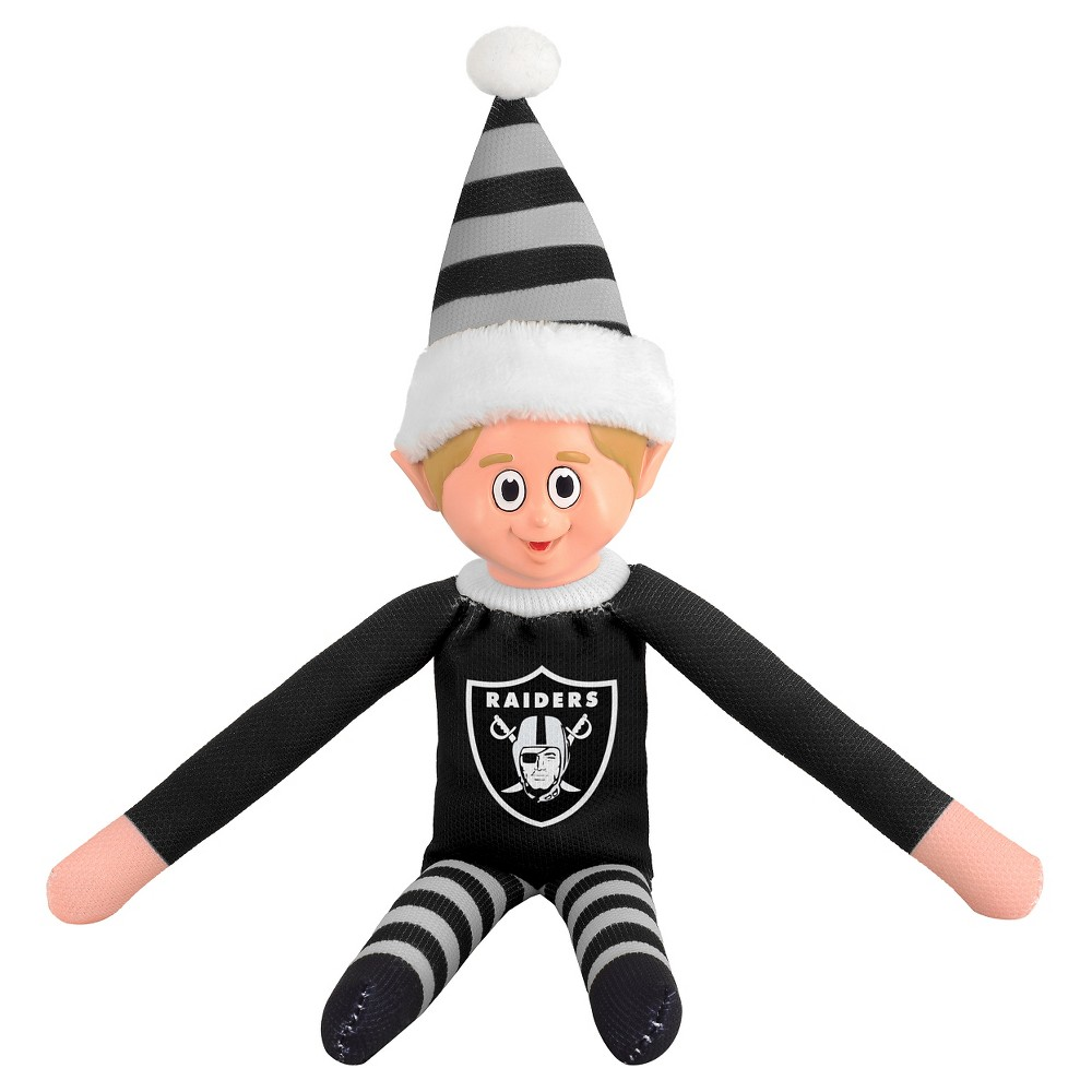 Forever Collectibles Oakland Raiders Holiday Elf Forever Collectibles - NFL Team Elf, Oakland Raiders - This Forever Collectibles Team Elf with provide hours of joy and holiday cheer for all. This officially licensed elf is sporting your favorite team's logo on his sweatshirt and a Santa hat for the season. Start a new tradition this year with your 2015 team elf! Age - 3 and up. Team elf is approximately 14 inches tall.