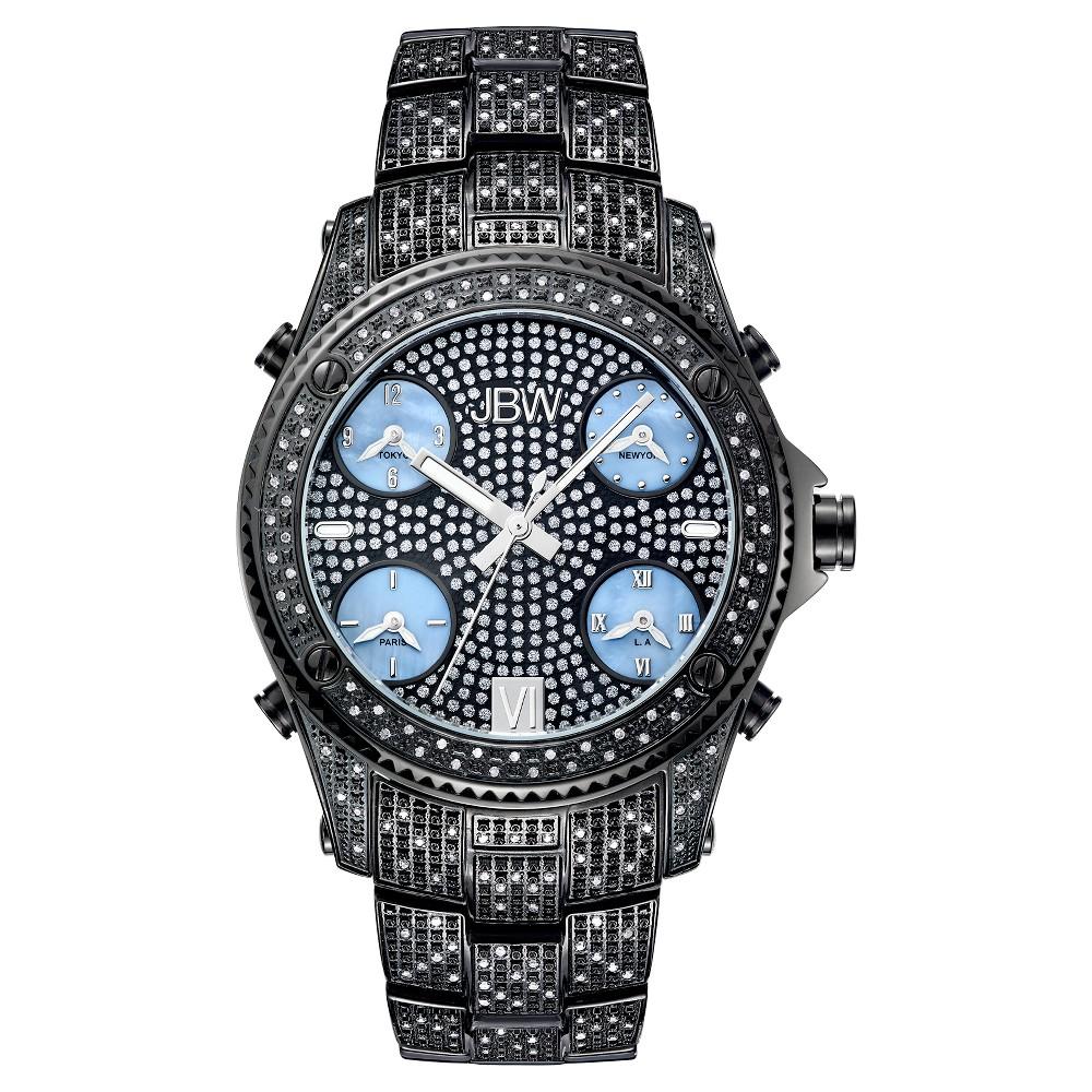 Image of Men's JBW JB-6213-B Jet Setter Multi-Time Zone Swiss Movement Real Diamond Watch - Black, Men's, Size: Small