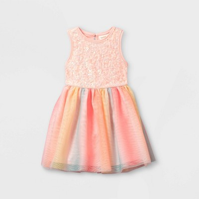 Toddler Girls' Sequin Rainbow Tulle Tank Dress - Cat & Jack™ Pink
