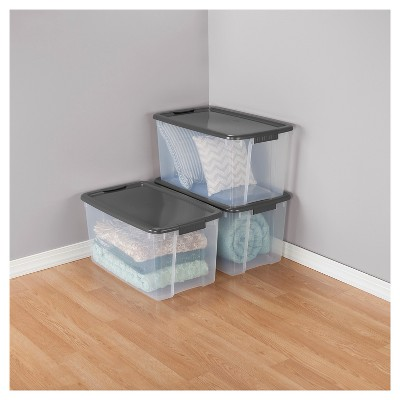 Sterilite® Ultra Clear Storage Bin Clear With Gray Lid 17.5gal : Target