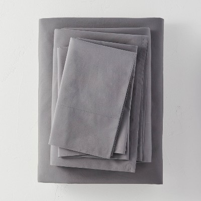 Full Washed Supima Percale Solid Sheet Set Dark Gray - Casaluna™