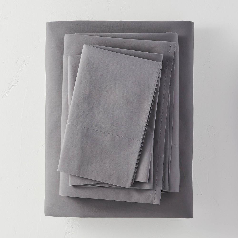 King Washed Supima Percale Solid Sheet Set Dark Gray Casaluna 8482