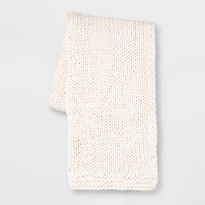 Chunky Knit Throw Blanket Cream - Threshold™