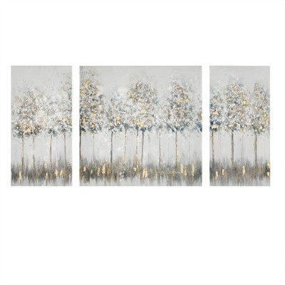 "(Set of 3) 27"" Height Midst Forest Printed Canvas with Gold Foil Blue"
