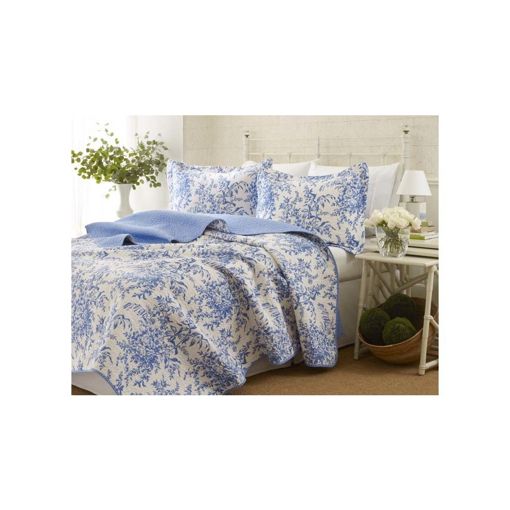 Image of Bedford Quilt And Sham Set Full/Queen Delft - Laura Ashley, Blue