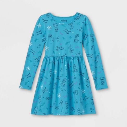Girls' Disney Frozen Dress - Teal - image 1 of 2