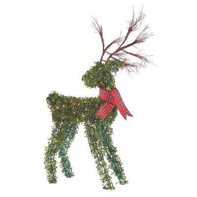 NOMA Pre Lit Outdoor Winter Garden Deer Christmas Holiday Lawn Decoration with Branch Antlers, Red Ribbon Scarf, and 4 Secure Yard Stakes, Green