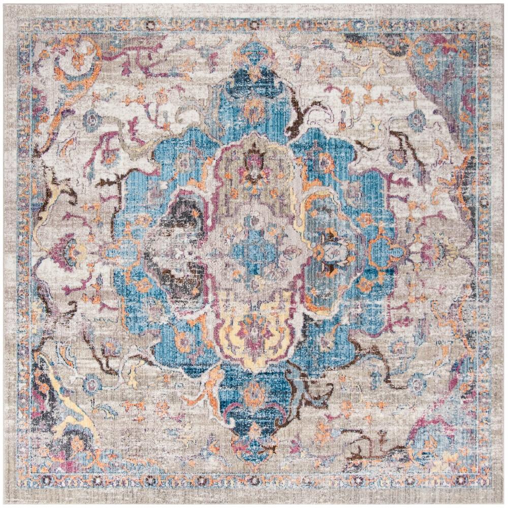 7'X7' Medallion Square Area Rug Blue/Light Gray - Safavieh