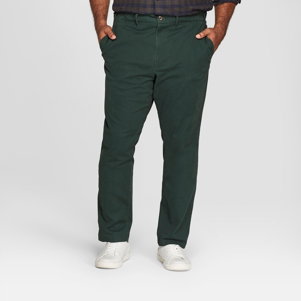 Men's Big & Tall Slim Fit Hennepin Chino - Goodfellow & Co Forest Green 50x30