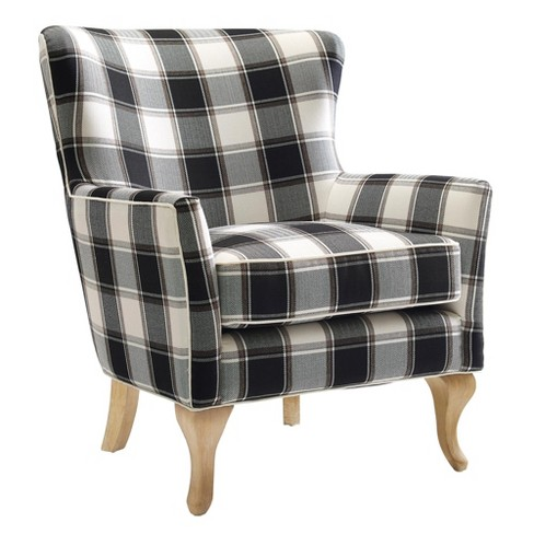 Knox Checkered Pattern Accent Chair Black White Dorel Living
