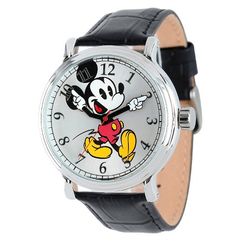 Men's Disney® Mickey Mouse Shinny Silver Vintage Articulating Watch with Alloy Case - Black - image 1 of 2