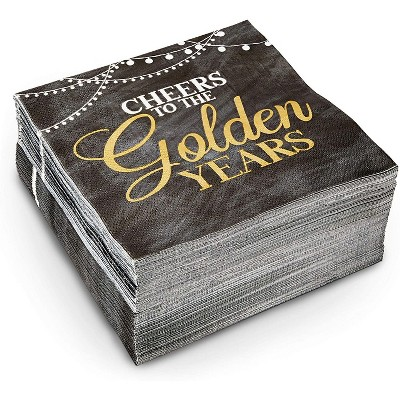 """Sparkle and Bash 100-Pack Cheers to the Golden Years Party Napkins, Black and Gold Disposable Paper Napkins, 6.5"""""""
