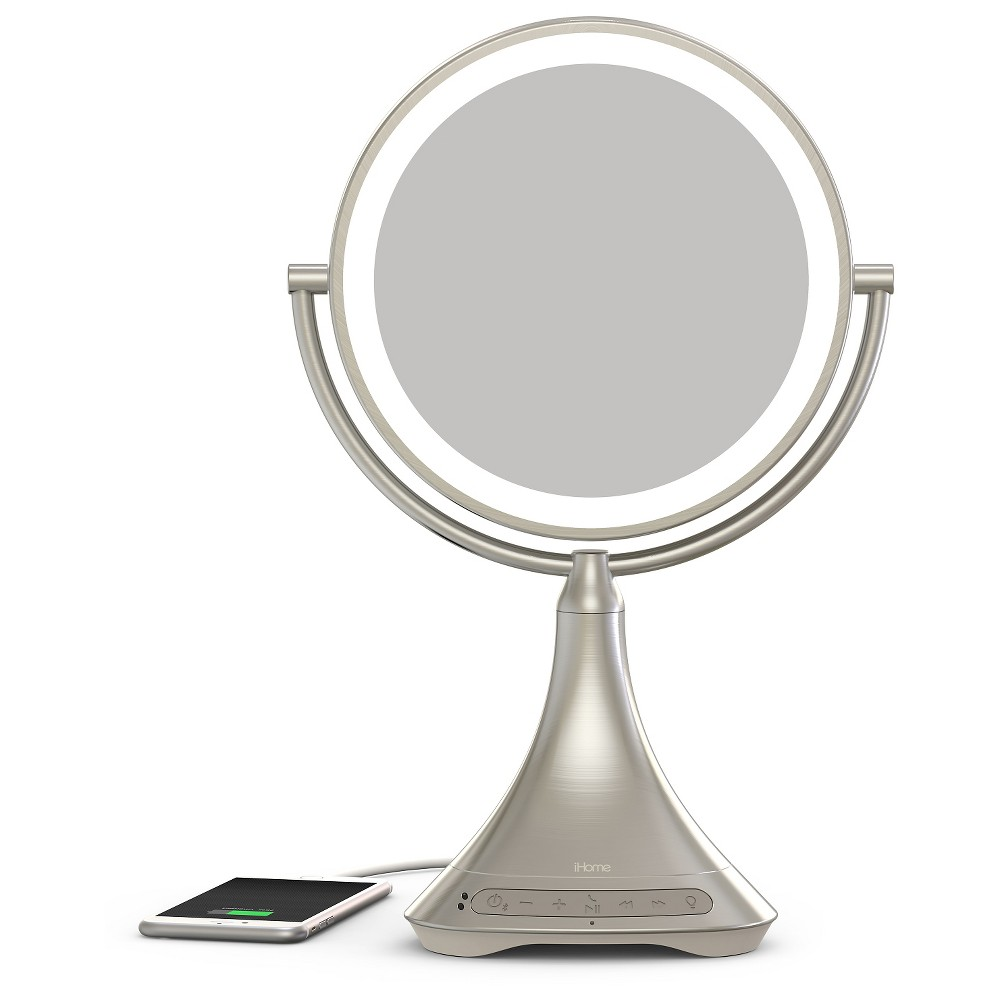 "Image of ""iHome 9"""" Portable and Rechargeable Double Sided Vanity Mirror with Bluetooth"""