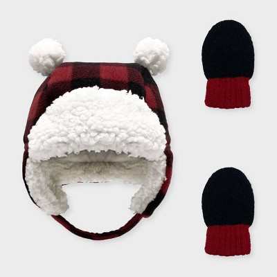 Baby Girls' Buffalo Plaid Trapper and Magic Mittens Set - Cat & Jack™ Red 6-12M