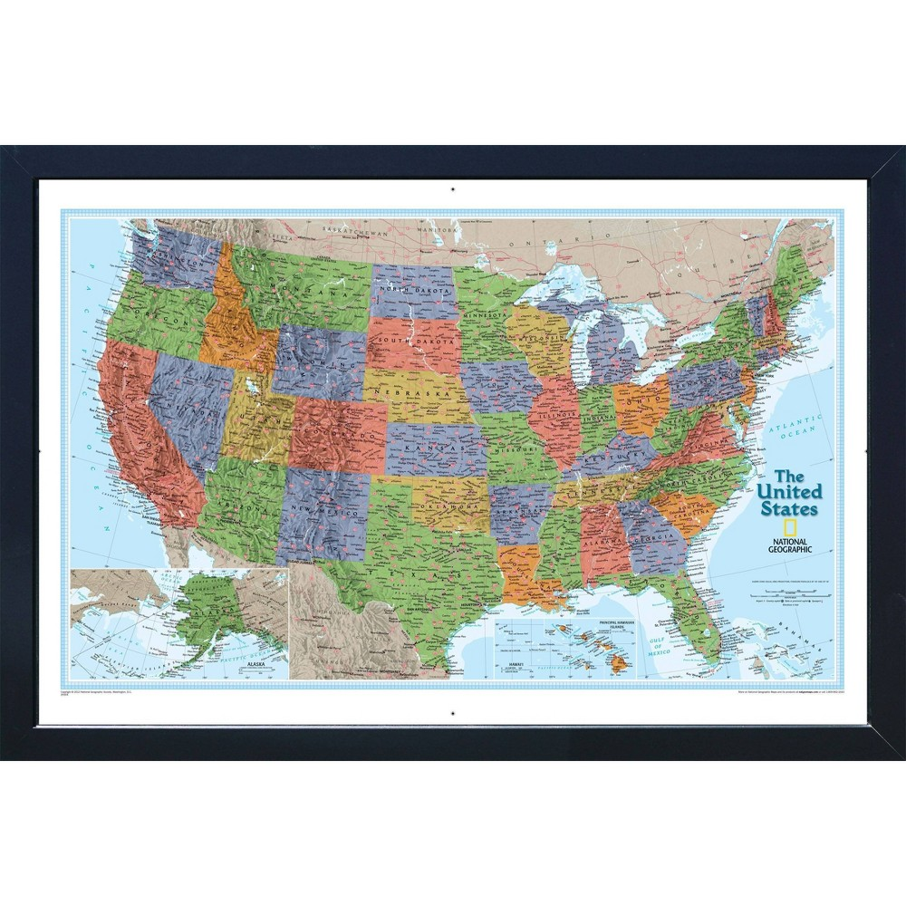Image of Large National Geographic Magnetic Travel Map USA Explorer - Home Magnetics
