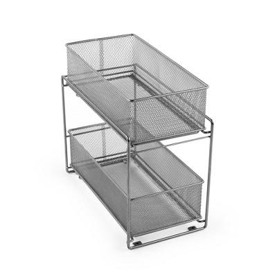 "Design Ideas Mesh Sliding Cabinet Baskets – Two Organization Bins – Silver, 7.5"" x 13.8"" x 12.5"""