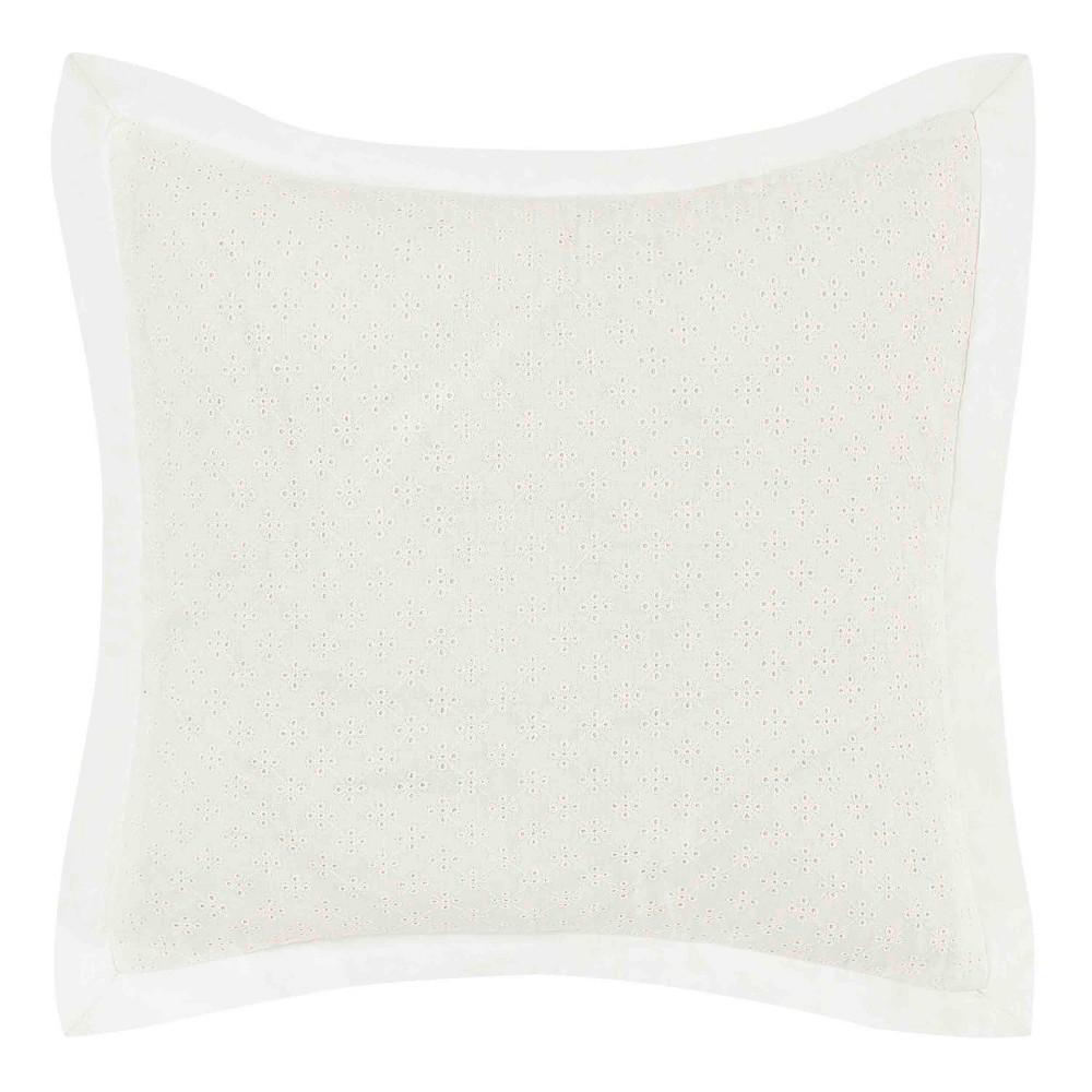 Image of 16x16 Mila Eyelet Throw Pillow White - Laura Ashley