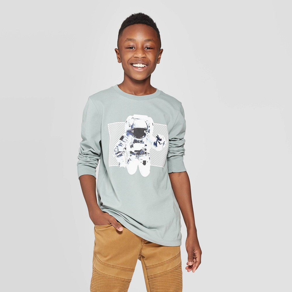 Image of Boys' Long Sleeve Graphic T-Shirt - art class Blue L, Boy's, Size: Large, Green