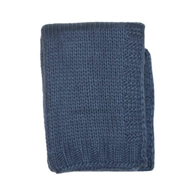 Kimberly Grant Large Gauge Cable Knit Blanket - Navy