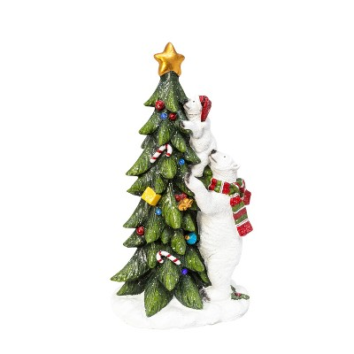 Gerson International 28.7-inch Tall Battery Operated Magnesium Polar with Cub Clmbing Tree