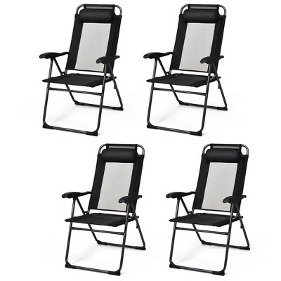 Costway 4PC Folding Chairs Adjustable Reclining Chairs with Headrest Patio Garden Black/Grey
