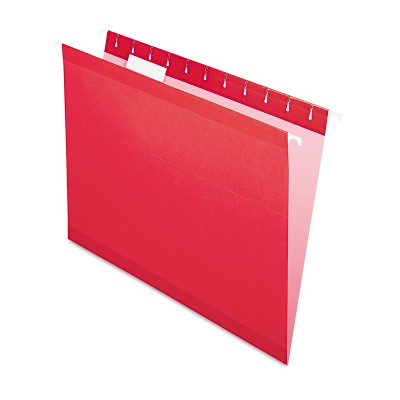 Pendaflex Reinforced Hanging Folders 1/5 Tab Letter Red 25/Box 415215RED