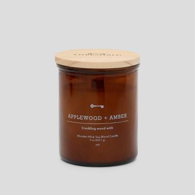 9oz Lidded Glass Jar Crackling Wooden Wick Candle Applewood & Amber - Threshold™
