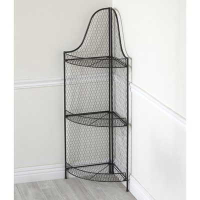 "Lakeside 42"" Metal Corner Shelf with Mesh Walls, 3 Shelves for Bathrooms, Kitchens"