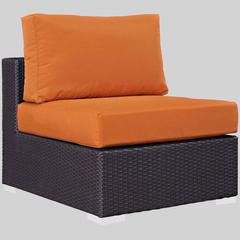 Convene Outdoor Patio Armless Chair - Orange - Modway
