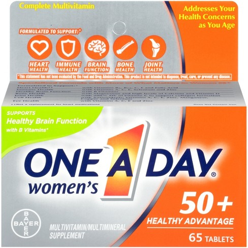 One A Day® Women's 50+ Health Advantage Multivitamin / Multimineral Dietary Supplement Tablets - 65ct - image 1 of 6