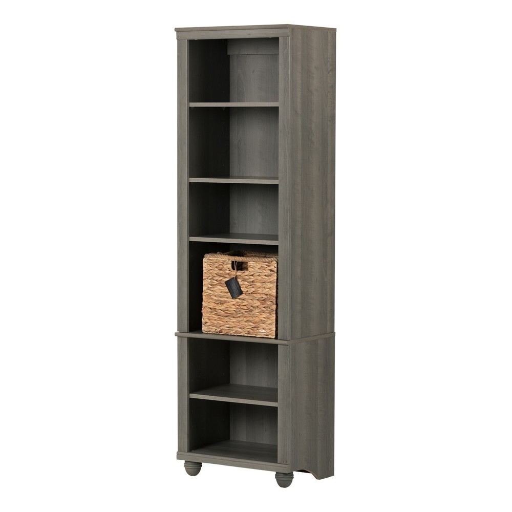 71 Hopedale Narrow 6 - Shelf Bookcase with Rattan Basket - Gray Maple and Beige - South Shore, Grey