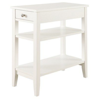 American Heritage Three Tier End Table with Drawer White - Breighton Home