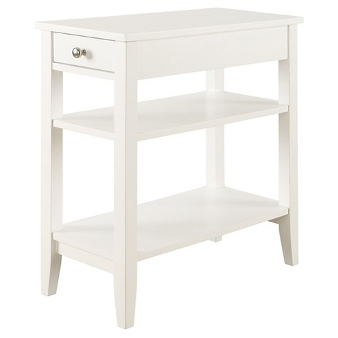 American Heritage Three Tier End Table With Drawer White