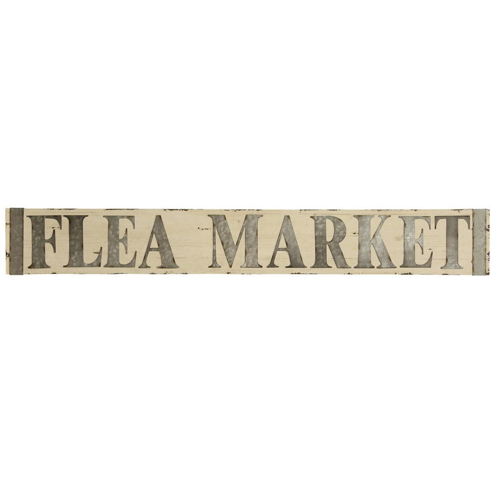 "Image of ""8"""" Metal & Wooden Flea Market Signage Decorative Wall Art - StyleCraft"""