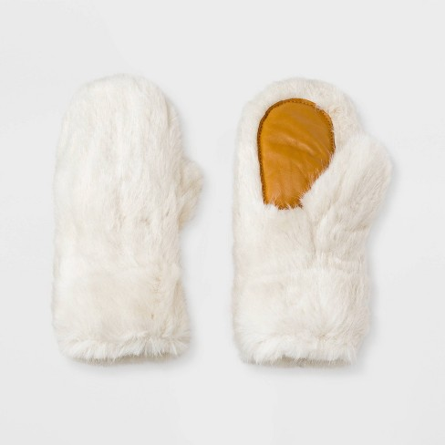 Women's Faux Fur Mittens - Universal Thread™ - image 1 of 1