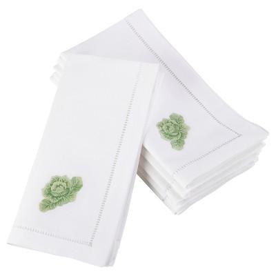 """6pk White Embroidered Cabbage Design Napkin 20"""" - Saro Lifestyle"""