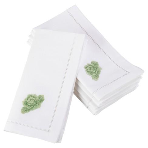 """6pk White Embroidered Cabbage Design Napkin 20"""" - Saro Lifestyle - image 1 of 3"""