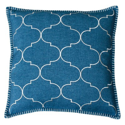 Ava Whipstitch Embroidered Square Throw Pillow Blue - Decor Therapy