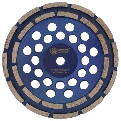 DiamaPro Systems DT-CW-7-2ROW-T Threaded 7 Inch Double Row Diamond Abrasive Concrete Grinding Cup Wheel Tool for Drains, Preparation, Coating Removal