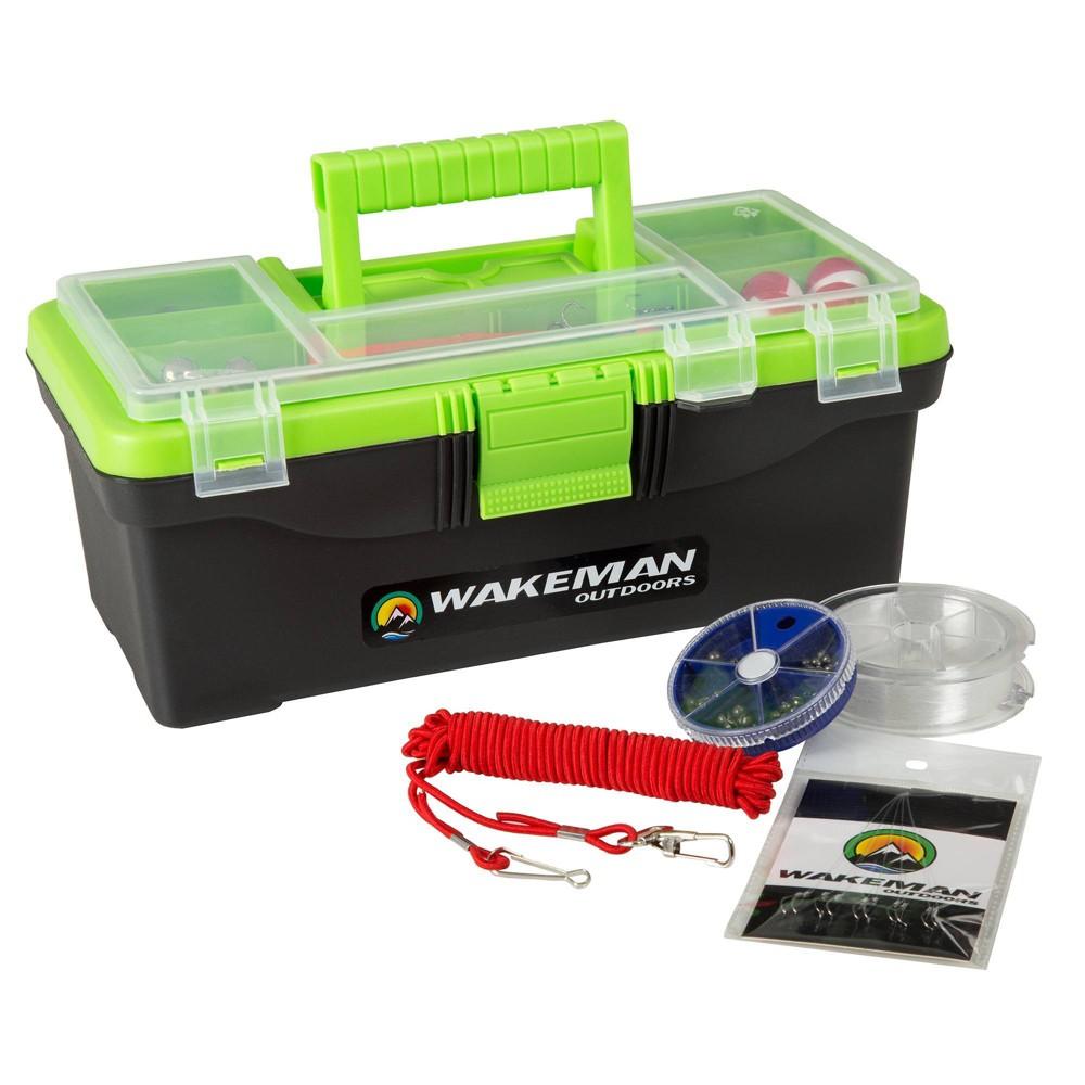 Image of Wakeman Single Fishing Tray Tackle Box 55 pc - Lime Green
