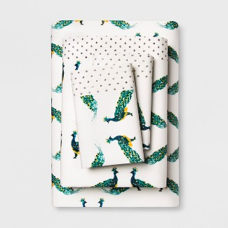 Cotton Percale Print Sheet Set (King) Peacock Teal - Opalhouse™