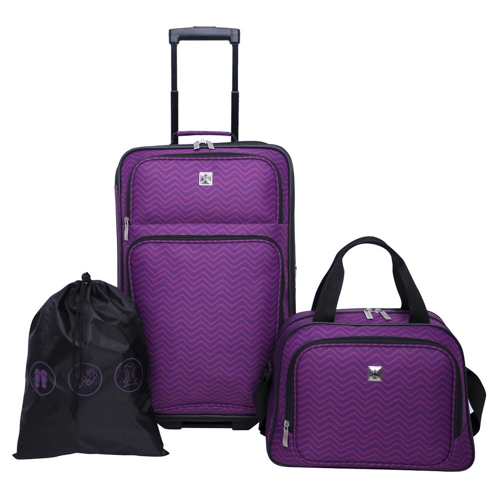 Skyline 3pc Softside Luggage Set Purple Chevron Print