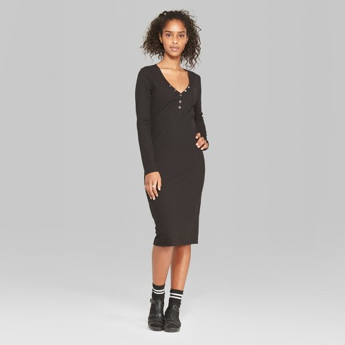 a5443b5126 Women's Long Sleeve Rib Henley Midi Dress - Wild Fable™ Black XL ...