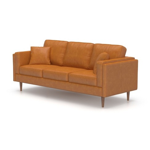 Peachy Logan Modern Faux Leather Sofa Af Lifestyle Theyellowbook Wood Chair Design Ideas Theyellowbookinfo