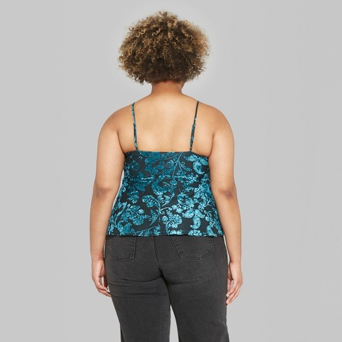 4f51c789f90 Women s Plus Size Floral Print Empire Waist Camisole - Wild Fable™ Dark  Teal 4X   Target