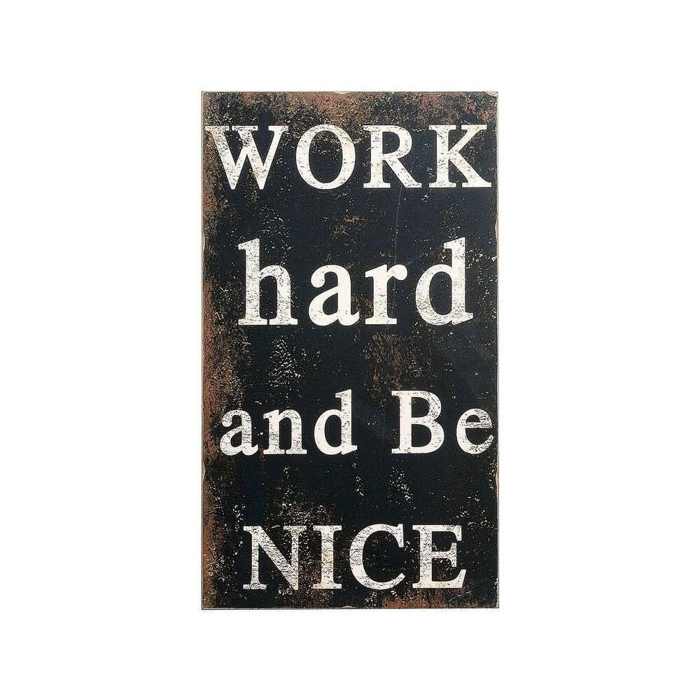 "Image of ""Work Hard And Be Nice Wall Dcor (15""""X27"""") - 3R Studios, Black"""